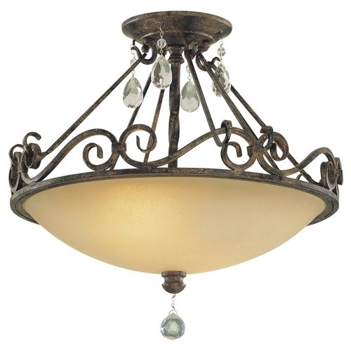 Feiss Lighting Semi-Flushmount Light with Beige / Cream Glass in Mocha Bronze Finish SF190MBZ