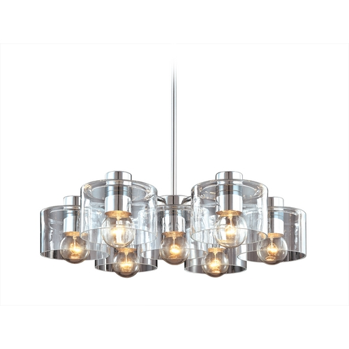Sonneman Lighting Modern Pendant Light with Clear Glass in Polished Chrome Finish 4807.01