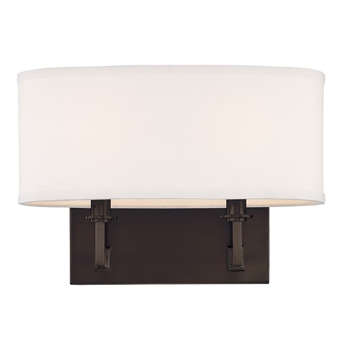 Hudson Valley Lighting Modern Sconce Wall Light with White Shades in Old Bronze Finish 592-OB
