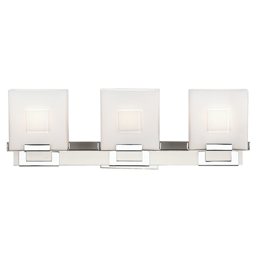 Philips Lighting Modern Bathroom Light with White Glass in Satin Nickel W/ Chrome Finis F442136NV