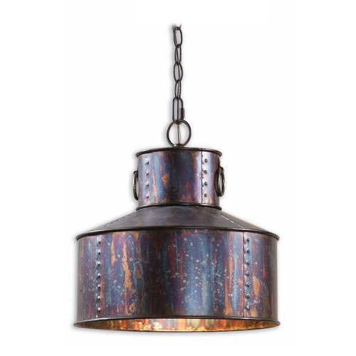 Uttermost Lighting Drum Pendant Light in Oxidized Bronze Finish 21924