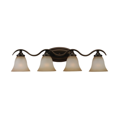 Sea Gull Lighting Bathroom Light with Beige / Cream Glass in Russet Bronze Finish 44362-829
