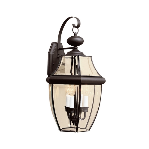 Sea Gull Lighting Outdoor Wall Light with Clear Glass in Black Finish 8040-12