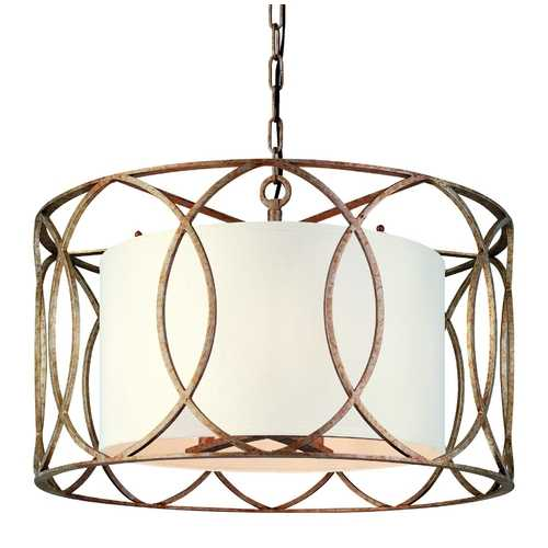 Troy Lighting Five-Light Wrought Iron Chandelier with Center Drum Shade F1285SG