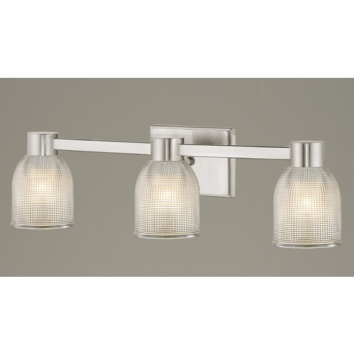 Design Classics Lighting 3-Light Prismatic Glass Bathroom Light Satin Nickel 2103-09 GL1058-FC