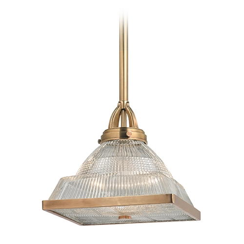 Hudson Valley Lighting Hudson Valley Lighting Harriman Aged Brass Pendant Light with Square Shade 4411-AGB