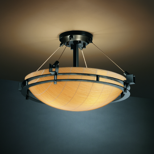 Justice Design Group Justice Design Group Metropolis Family Matte Black Semi-Flushmount Light 3FRM-8111-35-TAKE-MBLK