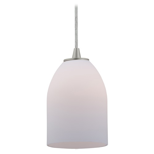 Access Lighting Access Lighting Bordeaux Brushed Steel LED Mini-Pendant Light with Bowl / Dome Shade 28018-3C-BS/OPL