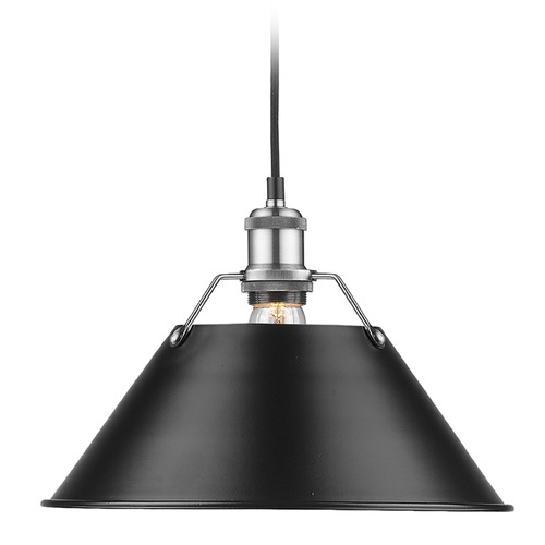 Golden Lighting Golden Lighting Orwell Pw Pewter Pendant Light with Conical Shade 3306-L PW-BLK