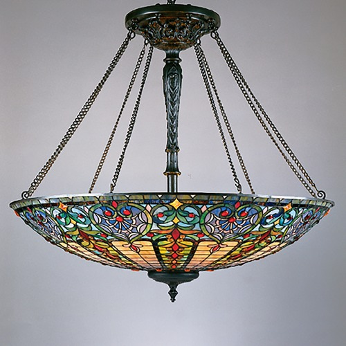 Quoizel Lighting Pendant Light with Multi-Color Glass in Vintage Bronze Finish TF1784VB