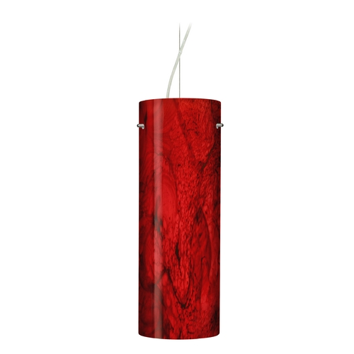 Besa Lighting Modern Pendant Light with Red Glass in Satin Nickel Finish 1KX-4128MA-SN