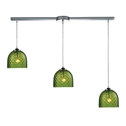 Elk Lighting Multi-Light Pendant Light with Green Glass and 3-Lights 31080/3L-GRN