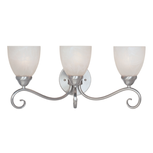 Designers Fountain Lighting Bathroom Light with Alabaster Glass in Satin Platinum Finish 98003-SP