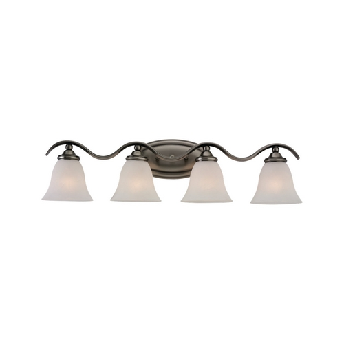 Sea Gull Lighting Bathroom Light with White Glass in Antique Brushed Nickel Finish 44362-965