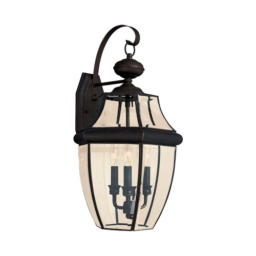 Sea Gull Lighting Outdoor Wall Light with Clear Glass in Antique Bronze Finish 8040-71
