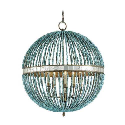 Currey and Company Lighting Blue Beaded Orb Pendant Chandelier Light 9763