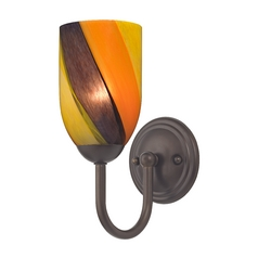 Sconce with Art Glass in Bronze Finish