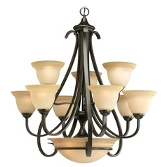Progress Chandelier with Beige / Cream Glass in Forged Bronze Finish
