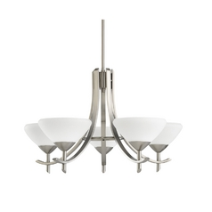Kichler Modern Chandelier with White Glass in Antique Pewter Finish