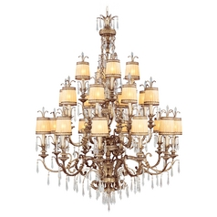 Livex Lighting La Bella Vintage Gold Leaf Crystal Chandelier