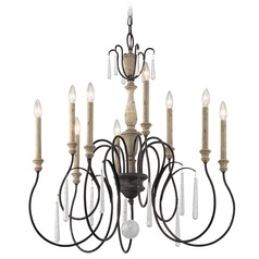 Kichler Kimberwick 2-Tier 9-Light Chandelier in Weathered Zinc