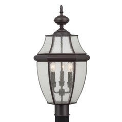 Beveled Seeded Glass Post Light Bronze Quoizel Lighting