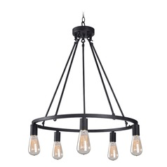 Industrial Edison Bulb Chandelier Graphite 23.5-Inch by Kenroy Home Lighting