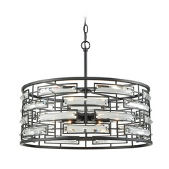 Elk Lighting Lineo Matte Black Pendant Light with Drum Shade