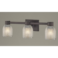 3-Light Prismatic Glass Bathroom Light Bronze