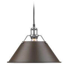 Golden Lighting Orwell Pw Pewter Pendant Light with Conical Shade