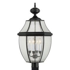 Beveled Seeded Glass Post Light Black Quoizel Lighting