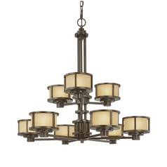 Nine-Light Two-Tier Chandelier with Golden Glass