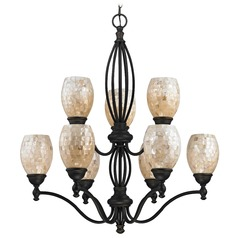 Mosaic Glass Chandelier - Bolivian Finish