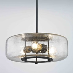 Industrial Seeded Glass Pendant Light with 3 Lights Bronze Finish