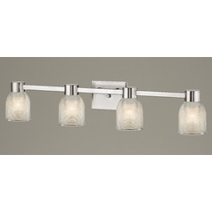 4-Light Prismatic Glass Bathroom Light Satin Nickel