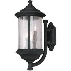 Seeded Glass Outdoor Wall Light Black 19-Inch Dolan Designs