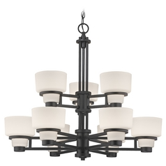 Modern Chandelier with White Glass in Warm Bronze Finish