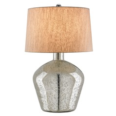 Currey and Company Lighting Asterisk Antique Silver Table Lamp with Drum Shade