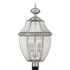 Beveled Seeded Glass Post Light Pewter Quoizel Lighting