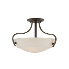 Semi-Flushmount Light with White Glass in Palladian Bronze Finish