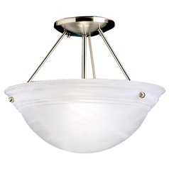 Kichler Lighting Kichler Semi-Flushmount Ceiling Light with Etched Bowl Glass Shade 3718NI