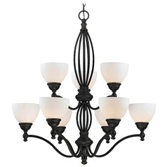 Satin White Glass Traditional Chandelier - Bolivian Finish