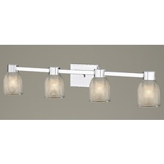 4-Light Prismatic Glass Bathroom Light Chrome