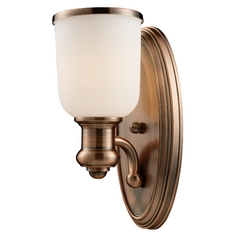 Modern Sconce Wall Light with White Glass in Antique Copper Finish