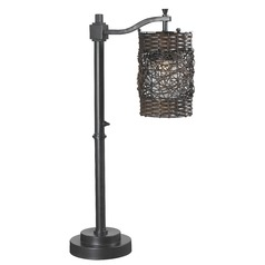 Bronze Outdoor Table Lamp with Wicker Shade