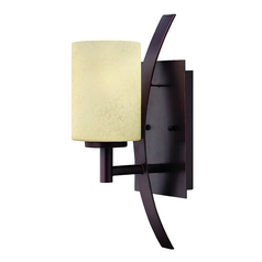 Sconce with Beige / Cream Glass in Metro Copper Finish