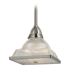 Prismatic Glass Pendant Light Satin Nickel Hudson Valley Lighting