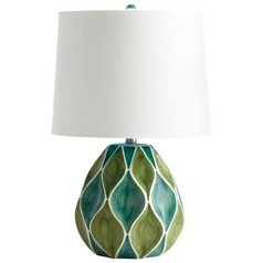 Cyan Design Glenwick Green & White Glossy Table Lamp with Drum Shade