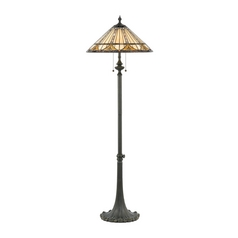 Floor Lamp with Tiffany Glass in Bronze Patina Finish
