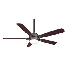 Modern Ceiling Fan with Light with White Glass in Oil-Rubbed Bronze Finish